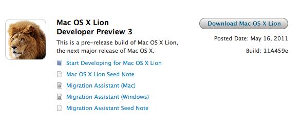 Developer Preview 3 do Mac OS X Lion no Dev Center