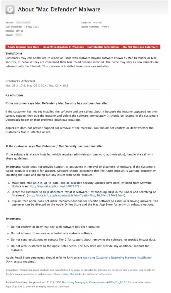 Documento do AppleCare sobre malware
