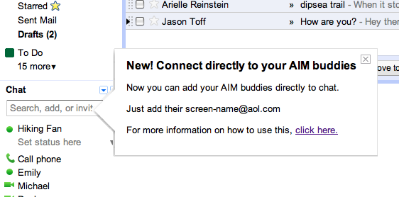 Gmail e AIM