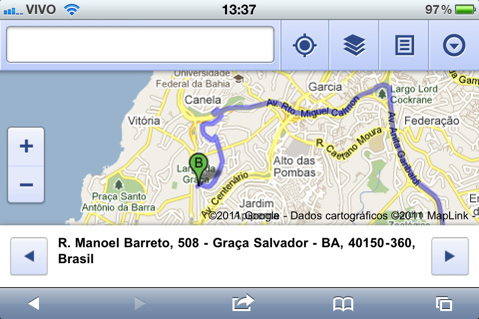 Google Maps no Mobile Safari do iOS