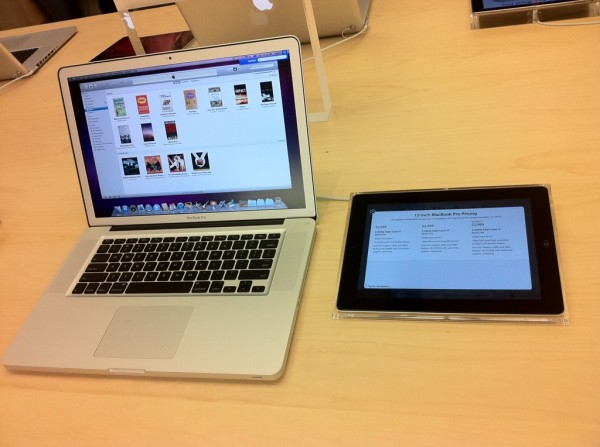 iPad exibindo informações de produtos - Apple Store 2.0