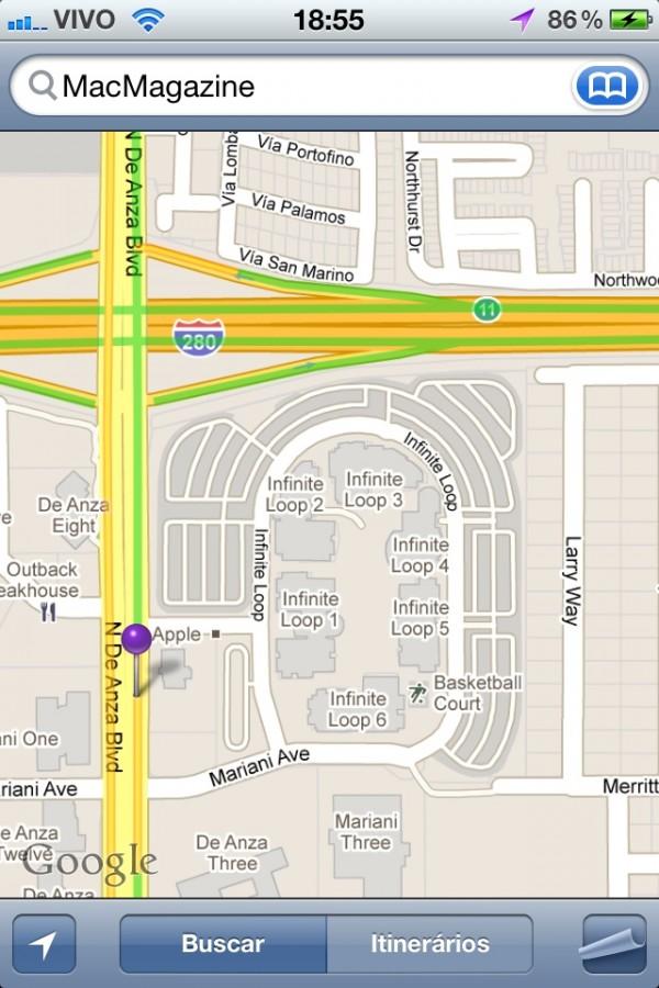 Google Maps - sede da Apple, em 1 Infinite Loop