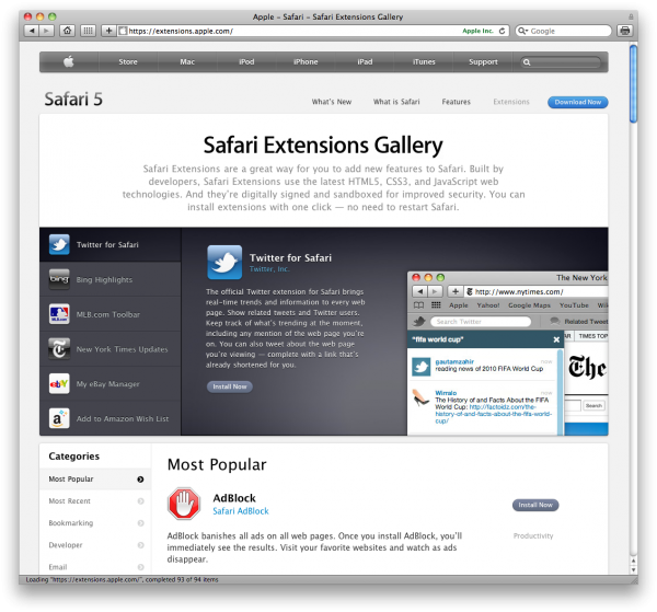 Página de Extensões do Safari