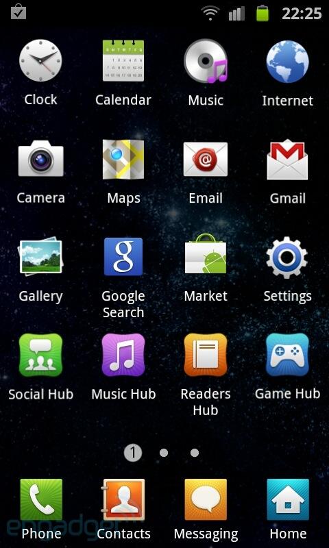 Interface do Samsung Galaxy S2