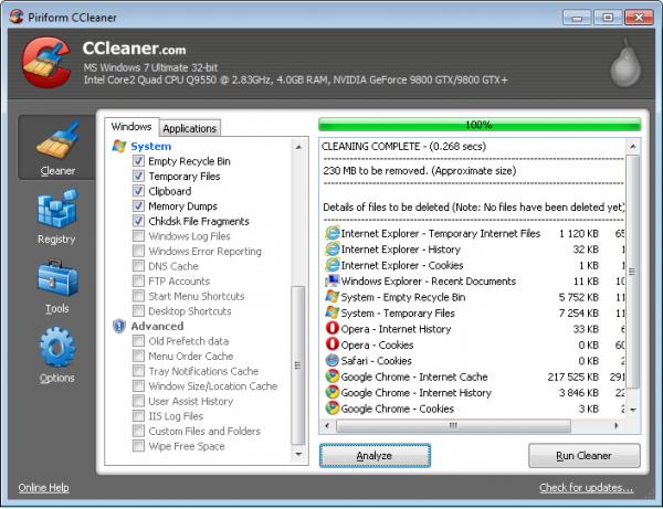 CCleaner em execução no Windows 7