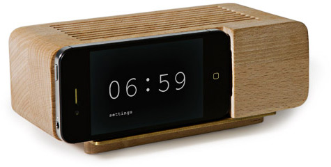 Wooden iPhone Alarm Dock