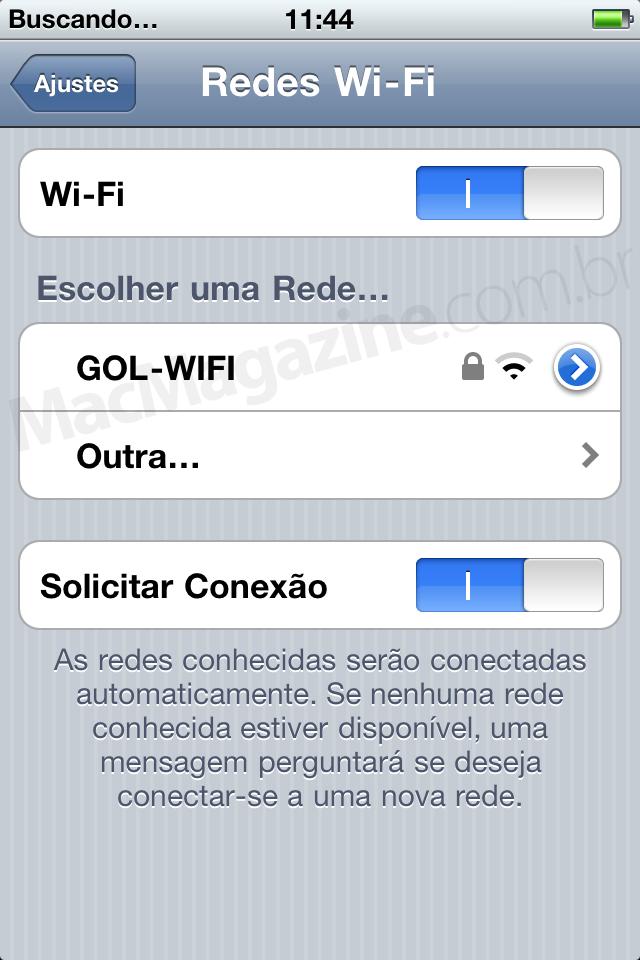 Wi-Fi na GOL pelo iPhone