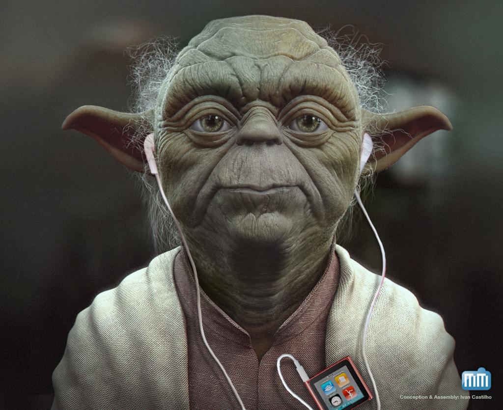 Yoda ouvindo um iPod