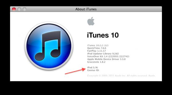 Número de série do iPod no iTunes