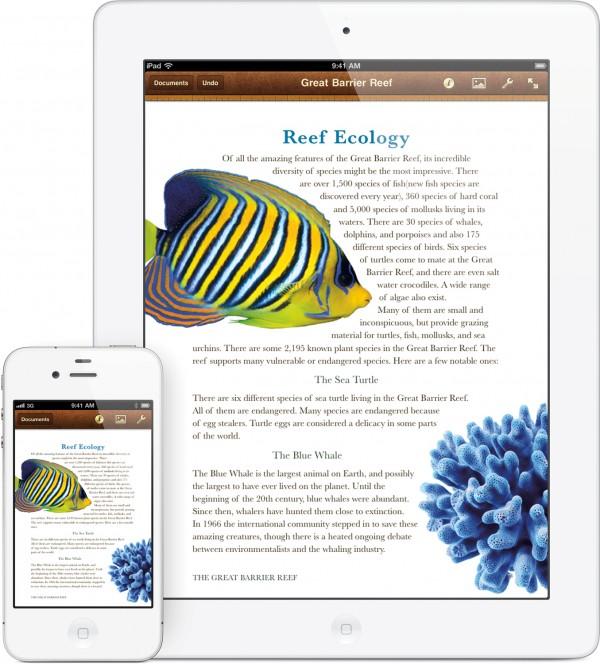 Pages da iWork no iOS