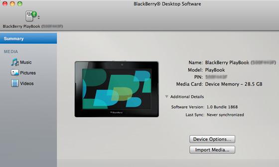 Beta do BlackBerry Desktop com PlayBook
