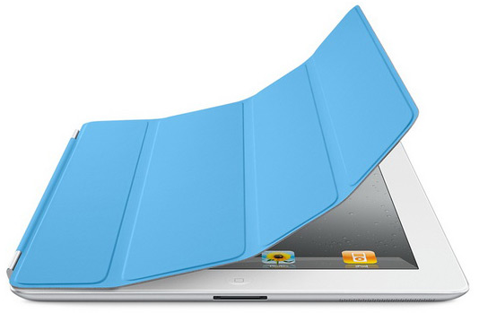 iPad 2 branco com Smart Cover azul