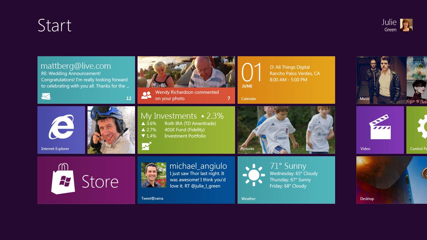 Menu Iniciar do Microsoft Windows 8 para tablets