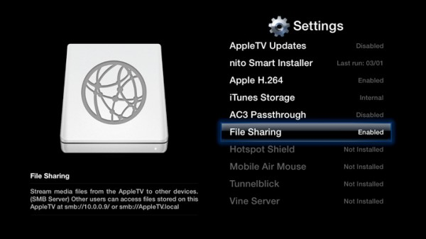 File Sharing no aTV Flash 4.3