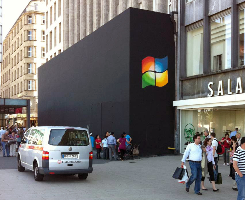 Logo do Windows em loja da Apple