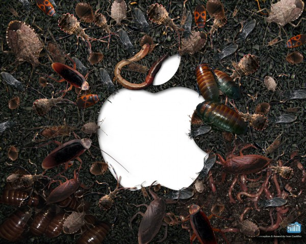 Baratas e insetos (vírus) em volta de logo da Apple