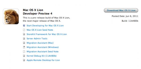 Developer Preview 4 do OS X Lion - build 11A480b