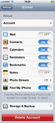 Configurações do iCloud - iOS 5