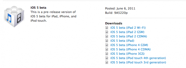iOS 5 beta - build 9A5220p