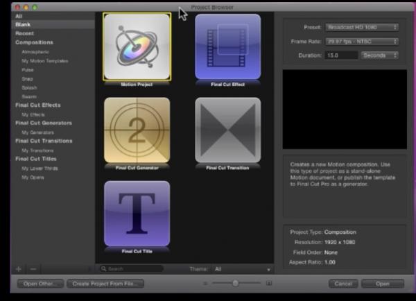 Screenshot vazada - Motion 5 e Final Cut Pro X