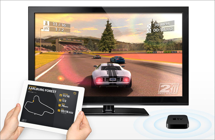 Real Racing HD 2 com AirPlay Mirroring