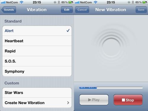 Editor de vibrações no iOS 5