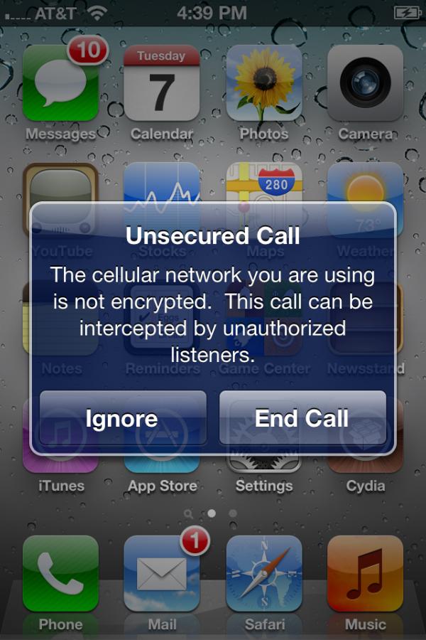 Alerta de chamadas inseguras no iOS 5