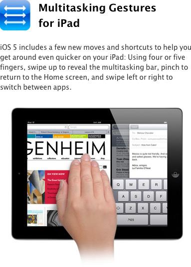 Gestos multi-touch para multitarefa no iOS 5