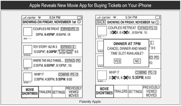 Patente de app para comprar entradas de cinema