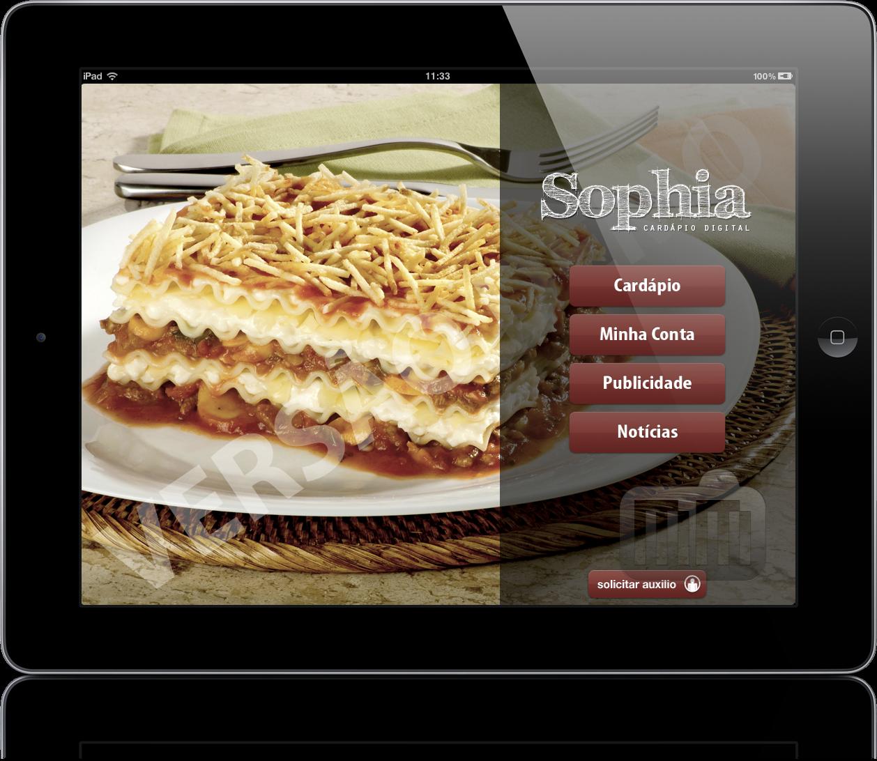 Cardápio Sophia no iPad