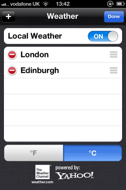 Weather no iOS 5