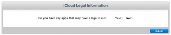 Informações sobre problemas legais no iCloud