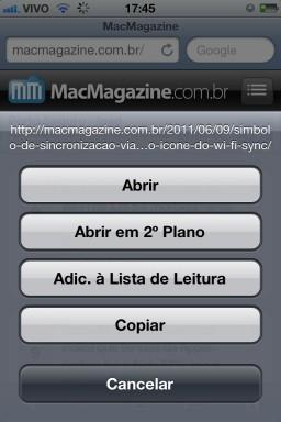 Safari no iOS 5 beta