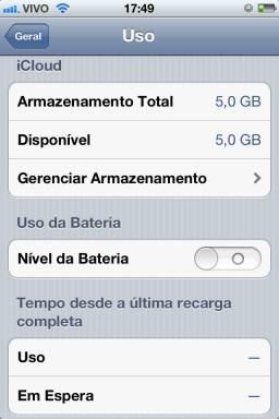 Seção Uso - iOS 5 beta