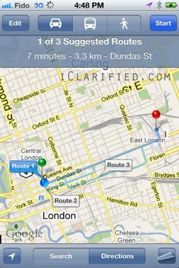 Rotas no Maps do iOS 5 beta