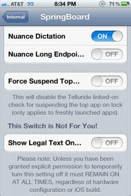 Opções em build interno do iOS 5 - @ChronicWire