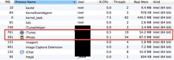 iTunes 10.5 rodando em 64 bits; iPhoto 9.2 em 32 bits