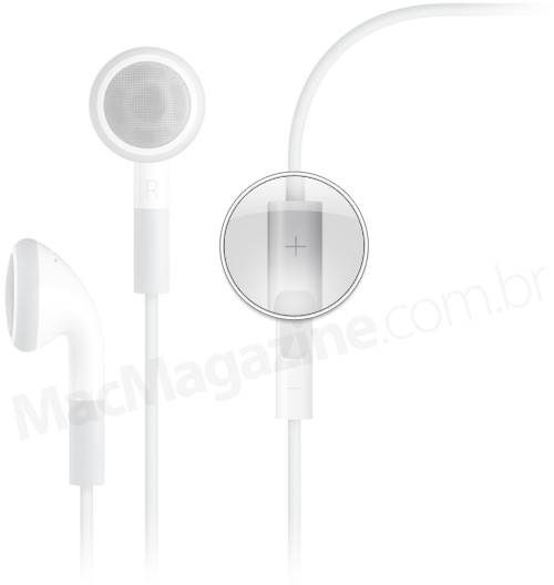 Botão de volume no headset da Apple