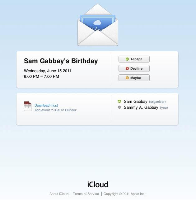 Convite de calendário do iCloud