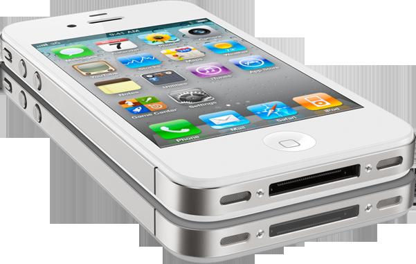 iPhone 4 branco visto de frente e de lado