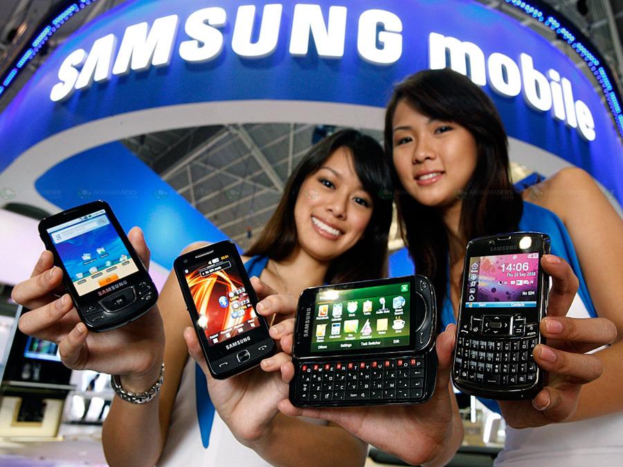 Coreanas com smartphones da Samsung mobile