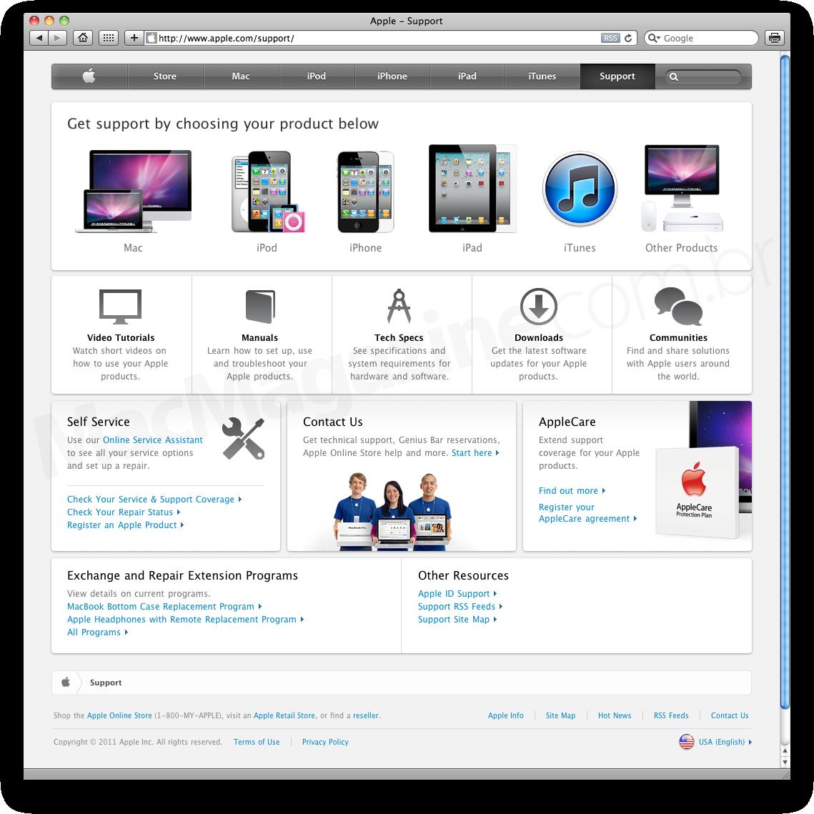 Página Apple - Support