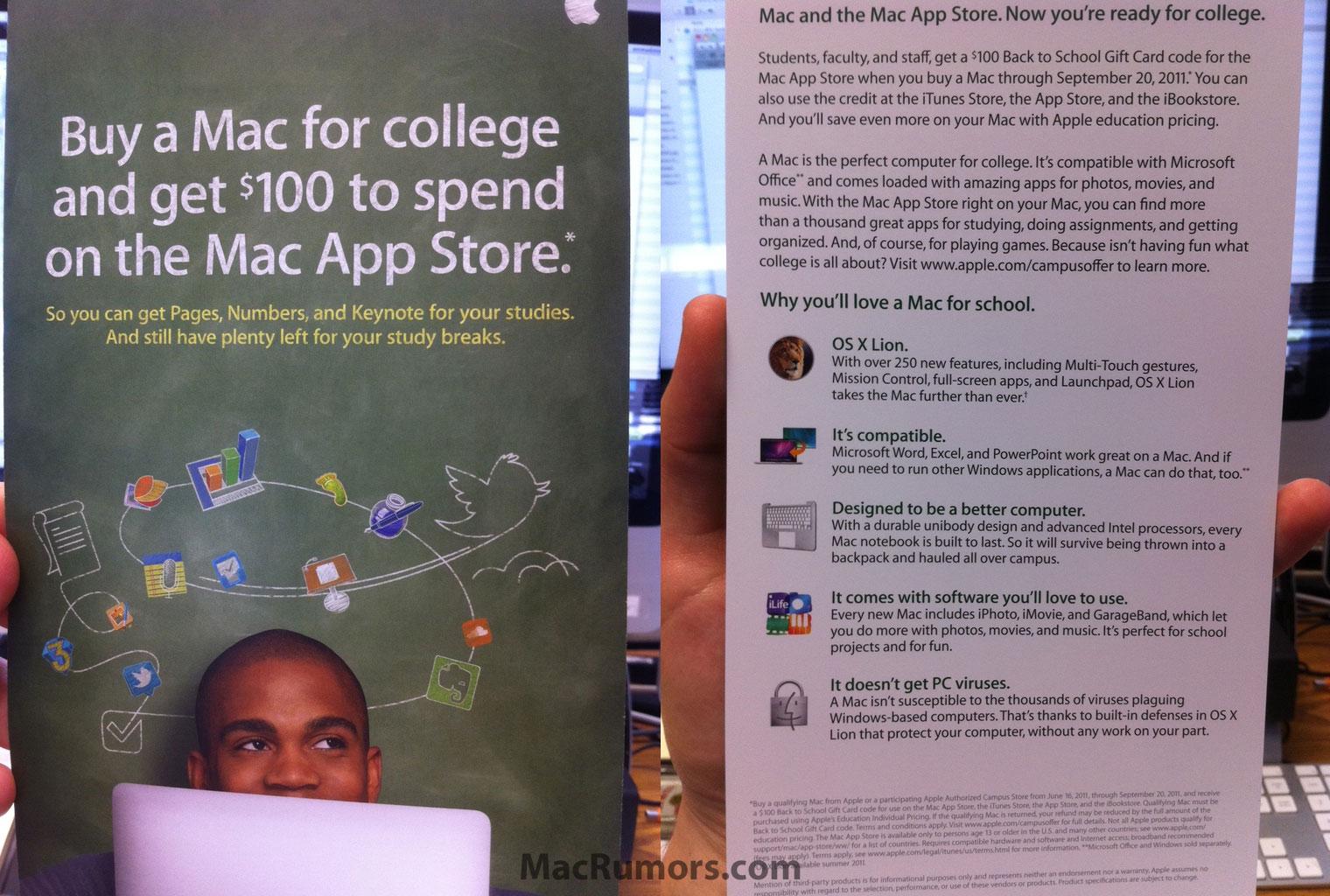 Panfleto da promoção Back To School 2011