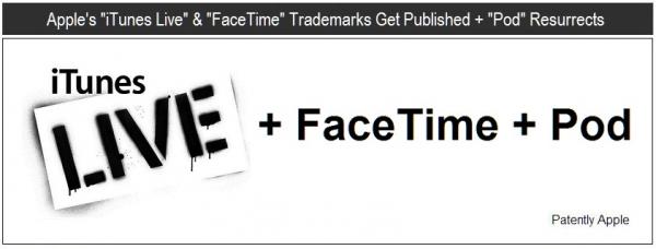 Registro das marcas iTunes Live, FaceTime e Pod