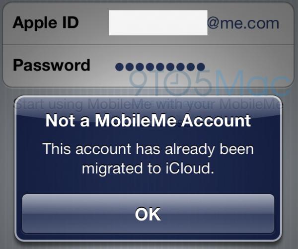 Migração de contas MobileMe para o iCloud