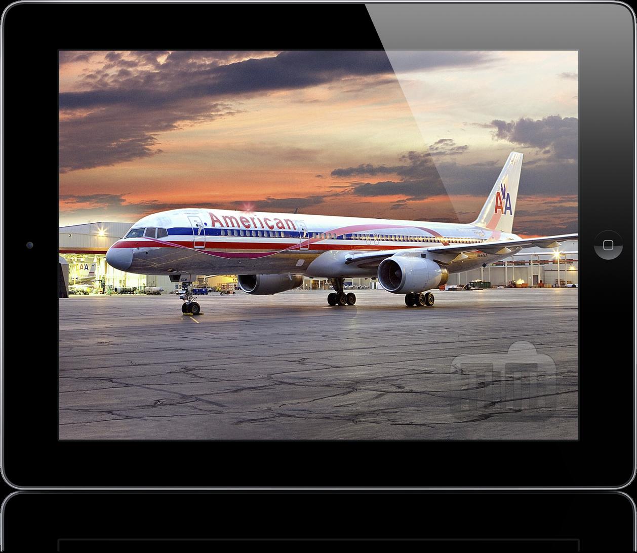 Avião da American Airlines em iPad
