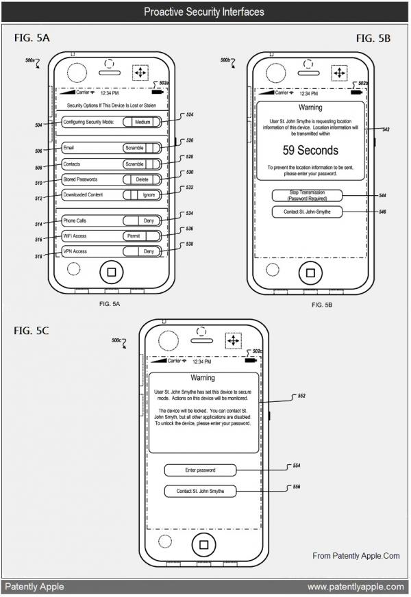 Patente de opções de segurança em iPhone