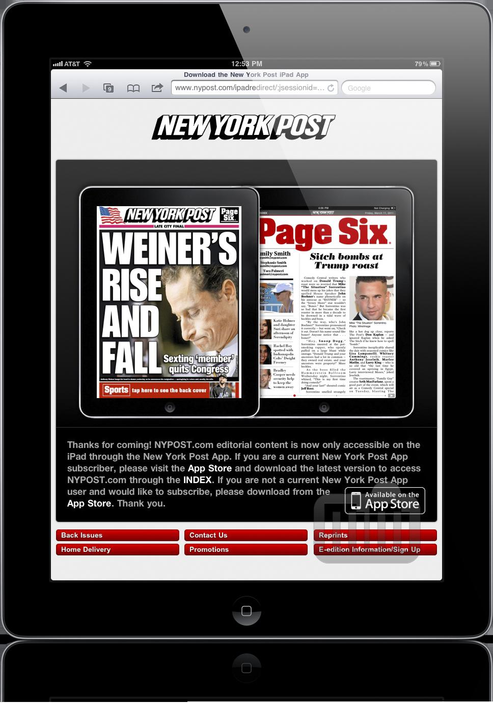 New York Post bloqueado em iPads