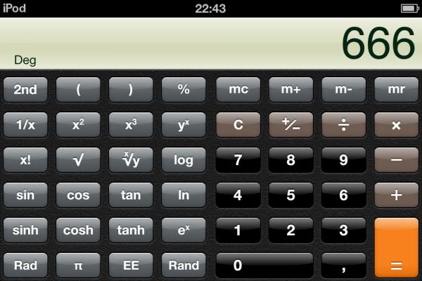 Calculadora do iOS (iPod touch)