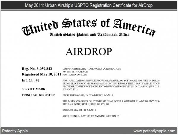 Certificado de transferência da marca AirDrop